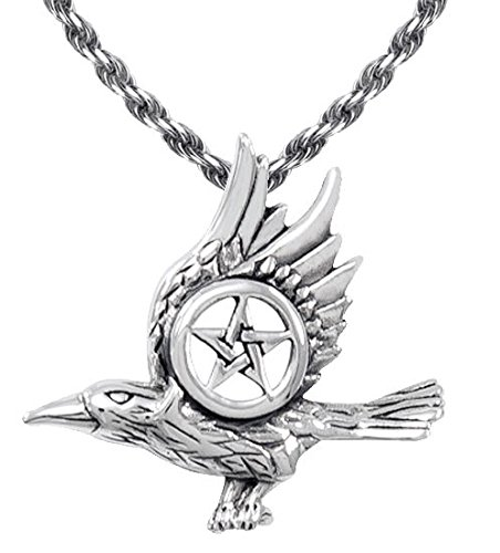 0.925 Sterling Silver Raven with Pentagram Wiccan Pendant Necklace