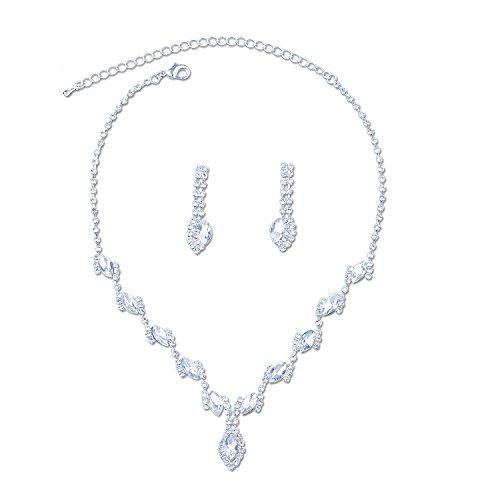 Topwholesalejewel Bridal Jewelry Set Silver Crystal Rhinestone Necklace Earring For (Rhinestone Wedding Crystal Necklace Earrings)