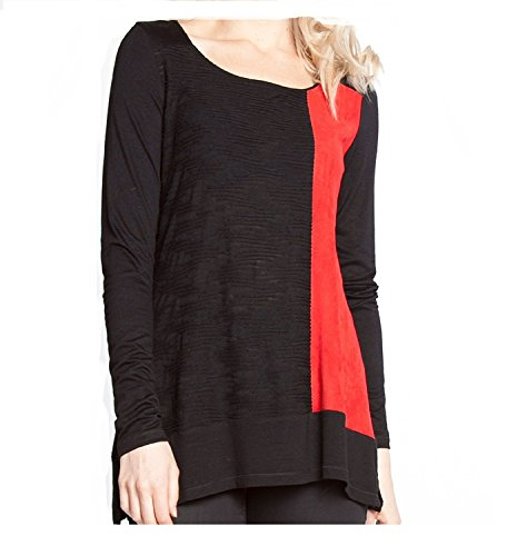 Patrizia Luca Long Sleeve Scoop Neck Two-Tone Soft and Suede Top, Black (Milano Long Sleeve Blouse)