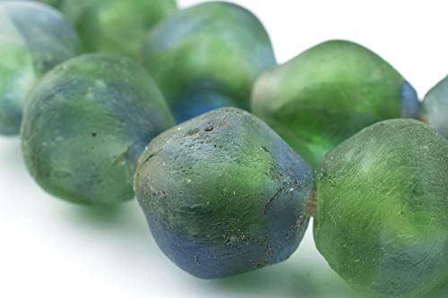 Jumbo Bicone Recycled Glass Beads - Beaded Wall Hangings - Extra Large African Sea Glass Beads 25mm - The Bead Chest (Blue-Green ()