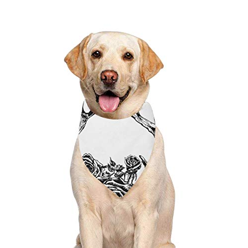 JTMOVING Dog Scarf Reindeer Antlers Roses Hipster Printing Dog Bandana Triangle Kerchief Bibs Accessories for Large Boy Girl Dogs Cats Pets Birthday Party Gift