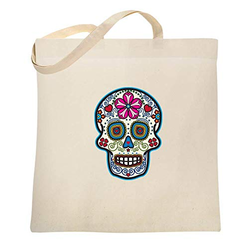 Sugar Skull Dia de los Muertos Horror Retro Natural 15x15 inches Canvas Tote Bag -