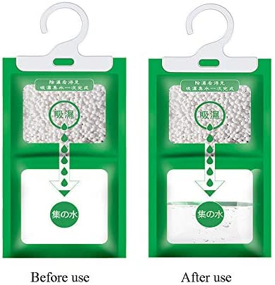 Creativee 8 Pack Hangable Wardrobe Dehumidification Bag,Closet Hanging Moisture Bag Anti- Damp Mold Deodorizing Moistureproof for Kitchen Bathroom