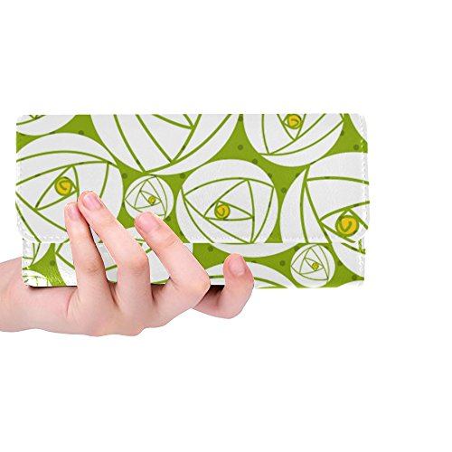 Unique Custom Rose Abstract Rose Garden Charles Rennie Mackintosh Women Trifold Wallet Long Purse Credit Card Holder Case Handbag
