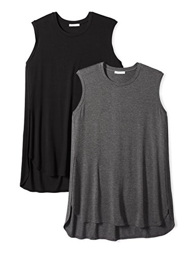 Daily Ritual Women's Plus Size Jersey Sleeveless Tunic, 2-Pack, 5X, Black/Charcoal Heather Heather Grey