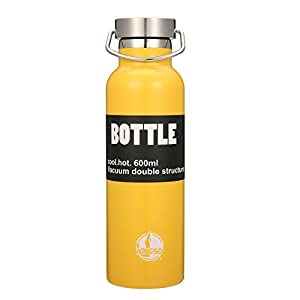 KINGSO Flask Double Wall Vacuum Insulated Stainless Steel Sports Water Bottle 20 oz Leak & Sweat Proof Standard Mouth with BPA Free Screw Cap for Hot or Cold Beverages Yellow
