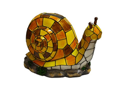 Solar Lighted Snail Accent Light -- Landscape Ornament Product SKU: SO10245 (Lighted Right Pier)