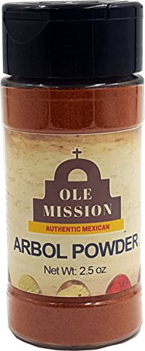Arbol Chile - Chile De Arbol Powder Mix 2.5 oz With Red Chili Peppers All Natural Great For Mexican Recipes by Ole Mission