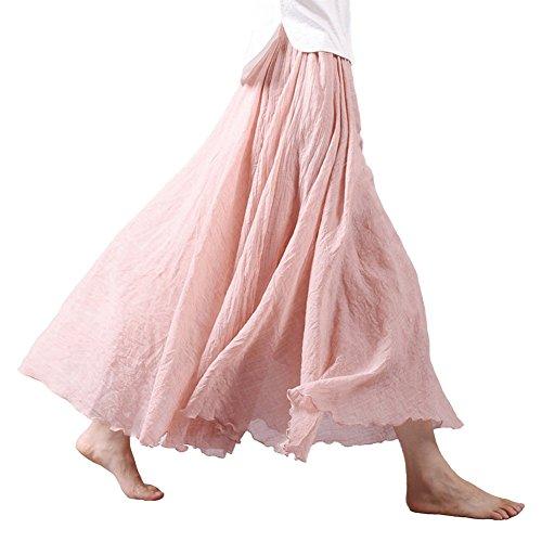 Tomwell Femmes A-Ligne Chic Taille Elastique Casual Jupe Taille Haute Plisse Maxi Longue en Lin Elgante Jupe Rose