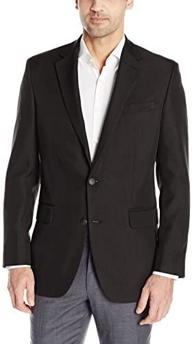Haggar Men's Travel Performance Mini Tic Tailored Fit 2-Button Suit Separate Coat, Black, 42R