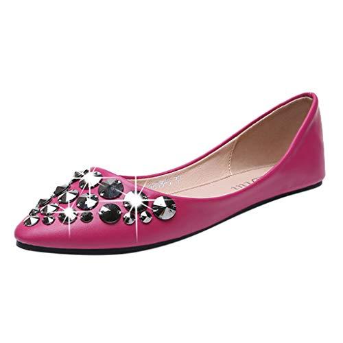 (Respctful✿Women's Fashion Flats, New Classic Rivets Pointy Toe Slip On Comfort Dress Pumps Shoes Hot Pink)