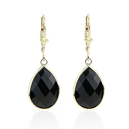 14k Earrings Drop Onyx (14K Yellow Gold Handmade Earrings With Dangling Pear Shape Black Onyx)