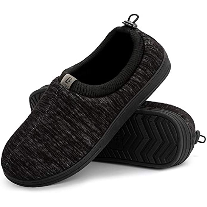 LongBay Men's Cozy Knitted Memory Foam Slippers with Adjustable Elasticated Collar Comfy House Shoes for Indoor Outdoor