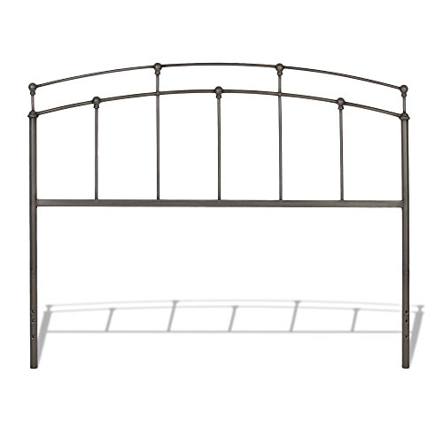 Metal Walnut Headboard (Fenton Metal Headboard Panel with Globe Finials, Black Walnut Finish, Twin)