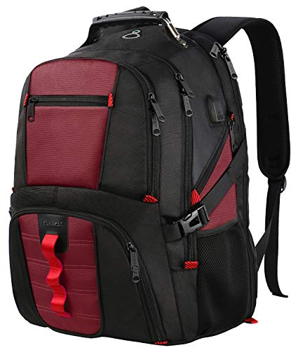 17 Inch Laptop Backpack, Extra Large Travel Computer Backpack with USB Charging Port for Women & Men,Durable College School Student Fashion Bookbag Airport Friendly Water Resistant Laptop Backpack-Red