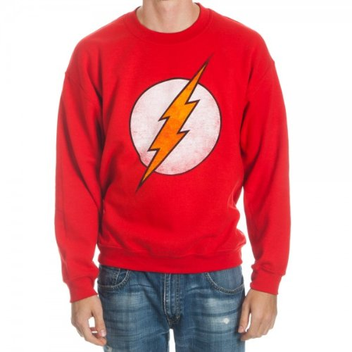 Mens Crew Red Logo Sweatshirt (The Flash Logo Adult Red Crew Sweatshirt (Adult Large))