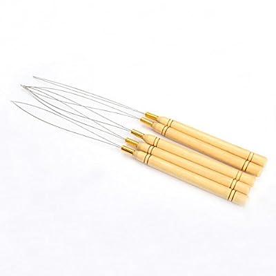 Pack of 5 Wooden Handle Hair Extensions Loop Needle Threader Pulling Hook Tool