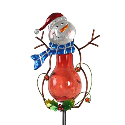 CEDAR HOME Solar Path Light Outdoor LED Garden Stake Wireless Waterproof Landscape Christmas Decoration for Lawn Yard Patio, Red Snowman
