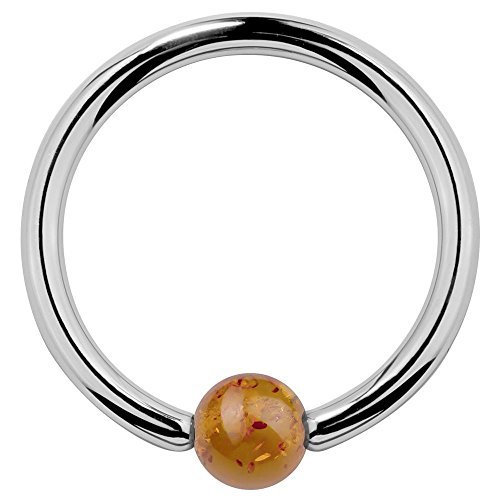 FreshTrends 14G 5/8 Baltic Amber 14k White Gold Captive Bead Ring