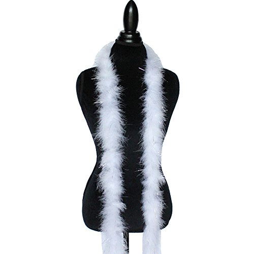 Boa Feather Trim (Cynthia's Feathers Marabou Feather Boa 6 Feet Long 22 Grams Crafting Sewing Trim Hair Bows Wedding Halloween Costume (White w/Silver Tinsel))