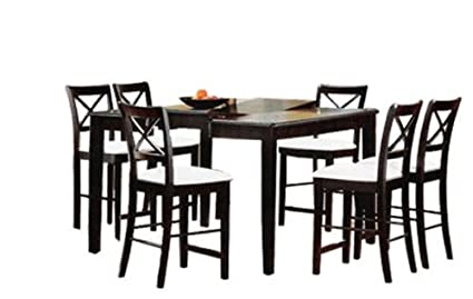 9 Piece Cappuccino Finish Counter Height Dining Set With Butterfly Leaf By  Coaster Furniture