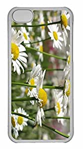 iPhone 5C Case, Personalized Custom White Daisies for iPhone 5C PC Clear Case