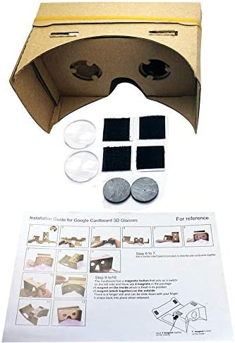 Google Cardboard,Virtual Real Store 3D VR Headsets DIY Virtual Reality Box Glasses with Clear Optical Lens and Comfortable Head Strap for All 4-6 Inch Smartphones(Starter DIY, 1 Pack) 41 dGy1hAnL