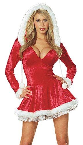 Dreamgirl Women's Sleigh Belle Velvet Dress, Red, Large