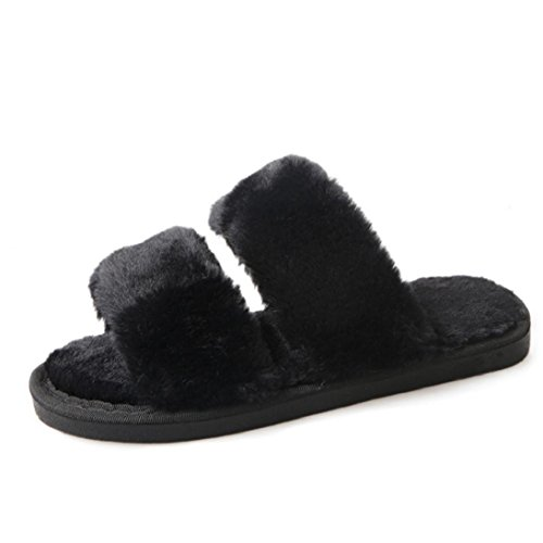 9cef30f3714 Womens Flat Non-slip Soft Fluffy Faux Fur Flat Slipper Flip Flop Sandal  Indoor Ountdoor