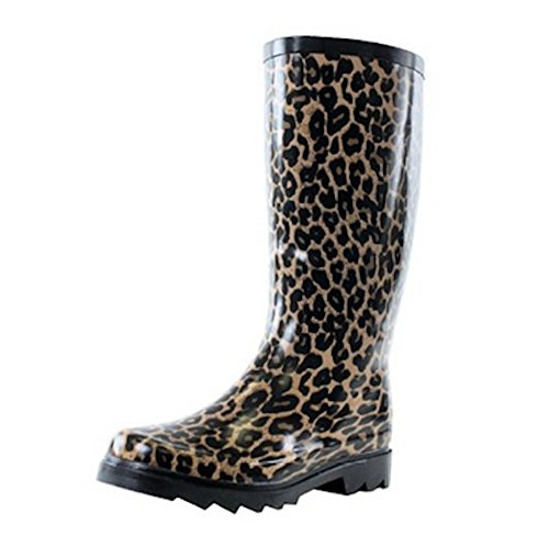 Womens Mid Calf Weather Proof Rubber Rain Boots in Leopard, Zebra, French, Grafitti Leopard