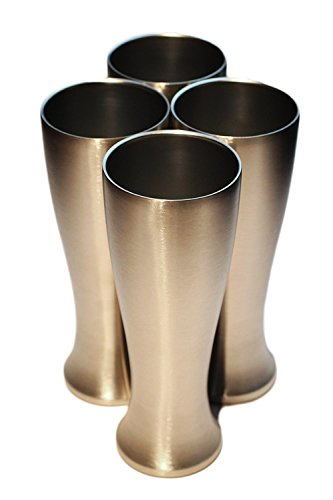 Mason Forge Stainless Steel Double Wall Vacuum Insulated 14 Ounce Pilsner Style Beer Tumbler   Sweat Free Double Wall Vacuum Insulated Beer Tumbler   Perfect for COLD or HOT beverages (Pilsner Mug Set)