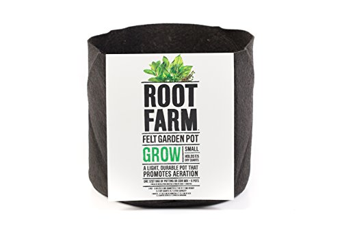 Root Farm Felt Garden Pot, Small - Grow Bag For Fruits, Vegetables, and Flowers, Promotes Aeration, Durable, 2 Gallon, 10101-10012