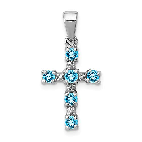 - Mia Diamonds 925 Sterling Silver Solid Rhodium Lt Sw Blue Simulated Topaz Cross and Diamond Pendant (22mm x 11mm)
