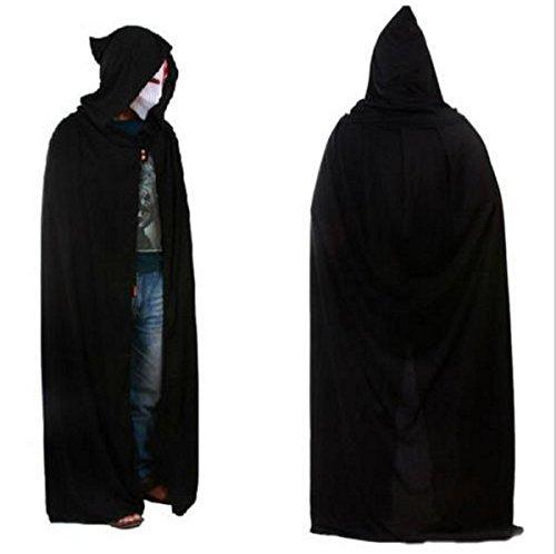 Death Costume Bleach God (UChic 1PCS Black Halloween Costume Theater Prop Death Hoody Cloak Devil Long Tippet Cape With Cap Long Cloaks About)