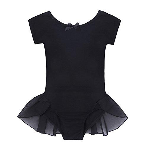 FEESHOW Girls Cap Sleeve Gymnastic Ballet Dance Leotard Dress Frilly Waist Ballerina Dancewear Costumes Black (A2 Gymnastics)