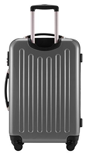 HAUPTSTADTKOFFER® 3er Hartschalen Kofferset · Handgepäck 45 Liter (55 x 35 x 20 cm) + Koffer 87 Liter (63 x 42 x 28 cm) + Koffer 130 Liter (75 x 52 x 32 cm) · Hochglanz · SILBER