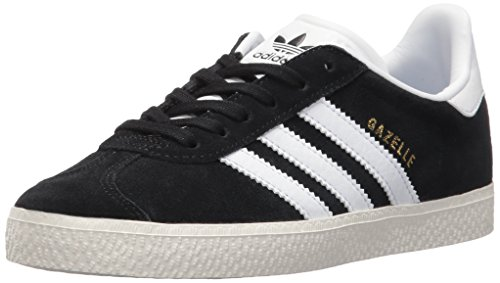 (adidas Originals Boys' Gazelle C Sneaker, Black/White/Metallic Gold, 2 Medium US Little)
