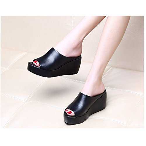 Sandals Slippers 7cm Size Platform Fashion Summer Shoes 7cm Black Female Black Sandals 41 Slippers Shoes Thick and Color wear Heel Word Slope 6EgTxq