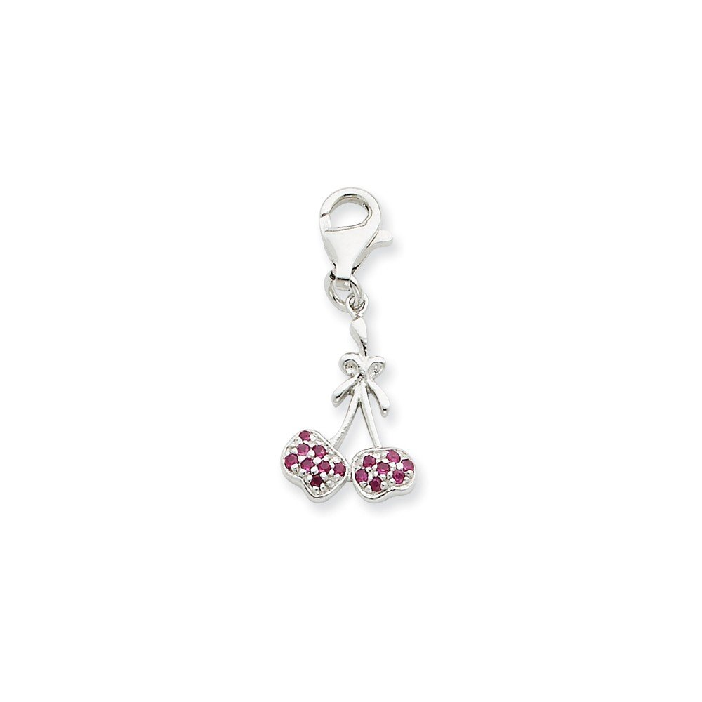 Goldia Sterling Silver CZ Cherries Charm