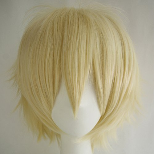 Alacos Unisex Cosplay Short Straight Hair Wig Anime Party Dresses Costume Fluffy Wigs Pale Blonde Wig+ Free Wig Cap