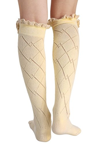 Boot Socks Long Womens Leg Socks Warmer Socks Yellow Boot Sexy Lace Crochet Soft Bow EqqwpT8