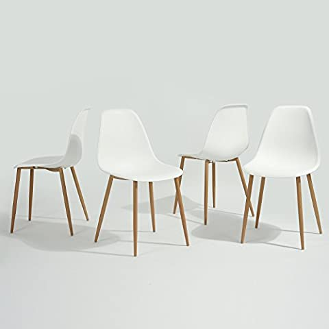 GreenForest Eames Dining Chair, Metal Wood Legs Plastic Seat and Back for Dining Room Chairs, Sets of 4 (Plastic Chairs Set Of 4)