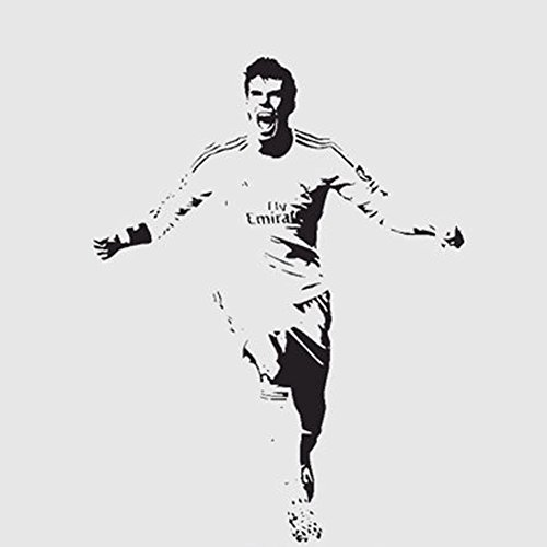 Fangeplus(R) DIY Removable Gareth Bale Soccer Football Player Sports Star Art Mural Vinyl Waterproof Wall Stickers Kids Room Decor Nursery Decal Sticker Wallpaper33.4''x43.7'' by Fangeplus