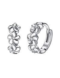 YAZILIND Elegant Jewelry Silver Plated Flower Shape Hoop Earrings with Cubic Zirconia Inlaid for Women Girls Gift