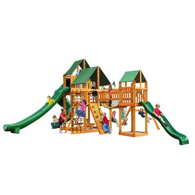 Gorillaplay Sets Home Backyard Playground Treasure Trove II Swing Set with Amber Posts and Sunbrella Canvas Forest Green Canopy
