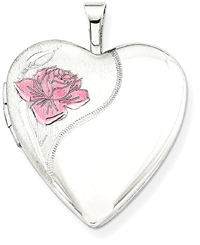 ICE CARATS 925 Sterling Silver 20mm Enameled Rose Heart Photo Pendant Charm Locket Chain Necklace That Holds Pictures W/chain Fine Jewelry Gift Set For Women (Enameled Locket)