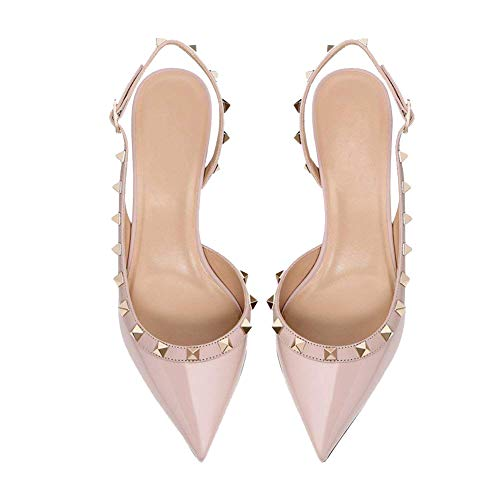 36b4cd66cf6b9 Ayercony Rivets Studded Sandal, Woman's Pointed Toe Sandals High Heels  Slingback Pumps Rockstudded for Dress Party Nude 10CM Size 6.5 US
