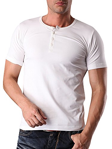 Fitted Baseball Tee (Makkrom Mens Slim Fit V Neck Short Sleeve Button Placket Henley T Shirt Top (Large, 3-White))