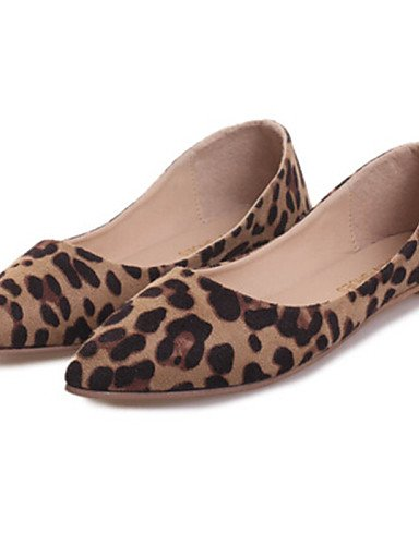 ChCh Womens Shoes Flat Heel Pointed Toe Flats Casual Black Gray Animal  Print