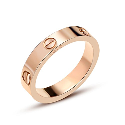 HIMAN Rose Gold Love Ring Couples Promise Engagement Wedding Band Titanium Stainless Steel Size (Gold Couples Ring)